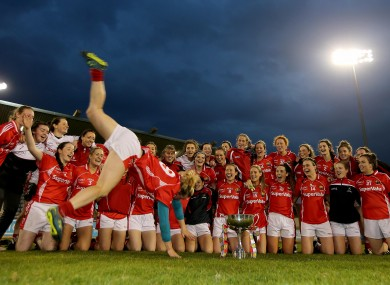 Briege Corkery and her Cork team-mates celebrate their success.