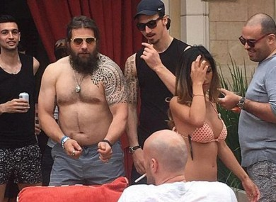 Martin Castrogiovanni pictured on a trip to Las Vegas with Paris Saint-Germain players including Zlatan Ibrahimovic.