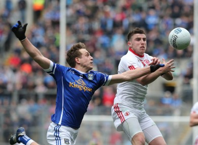 Faulkner challenges Conor McAliskey of Tyrone in the division 2 final last month.