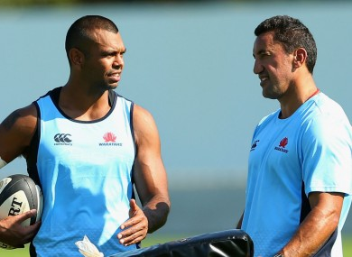 Kurtley Beale and Waratahs coach Daryl Gibson.