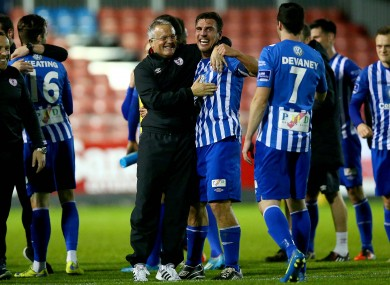 Sligo manager Micky Adams celebrates with Gavin Peers at the end of the game against St Pat's at Richmond Park last October.