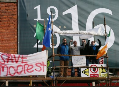 Protesters who occupied Moore Street in February of this year.