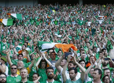 Irish fans saluting players at the end of their Euro 2016 round of 16 match