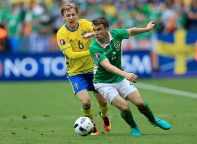 Coleman: his cross set up Hoolahan for Ireland's goal.
