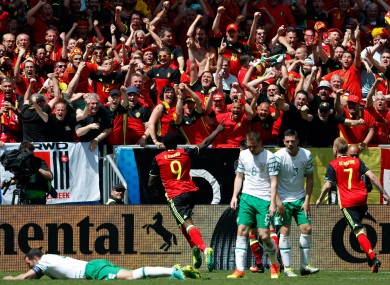 Lukaku celebrates his first goal.