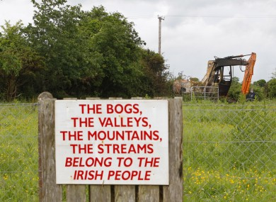 Sign erected by protesters at Clonmoylan Bog near Woodford, Co Galway.