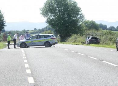 Gardaí at the scene of yesterday's crash.