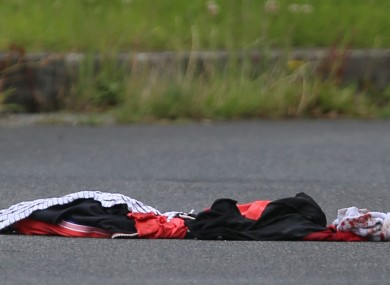 Blood-soaked clothing at the scene where a man was shot in North Co Dublin