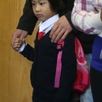 Xin Ni Chen (4)  from Dublin starts her first day in Junior Infants in Gardiner Street Convent School<span class=