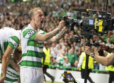 Griffiths celebrates his second goal.