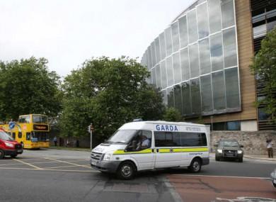 A Garda van outside the Central Criminal Court in Dublin.
