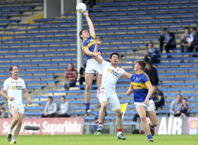 Colin O'Riordan rises highest in last year's championship qualifier against Tyrone.