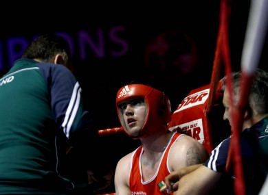 Joe Ward takes instructions from Irish coach Zaur Anita.