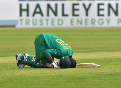 Pakistan's Sharjeel Khan celebrates his 100.