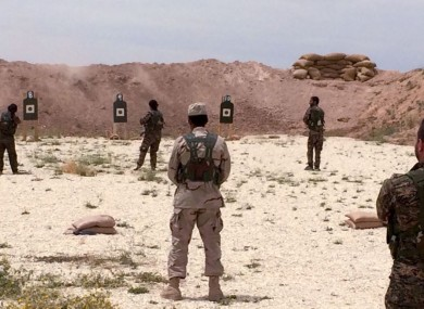 Syrian Arab trainees practice firing their small arms at an undisclosed training range in northern Syria. Efforts are being made to build alliances of Arab, Kurd and other local fighters to defeat Islamic State.