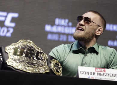 UFC featherweight champion Conor McGregor pictured at last month's UFC 202 press conference in Las Vegas.