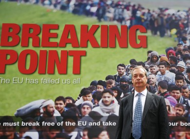 UKIP leader Nigel Farage before a Brexit poster featuring a queue of migrants last June. The poster's anti-immigrant tenor was criticised by other pro-Brexit politicians such as Boris Johnson.