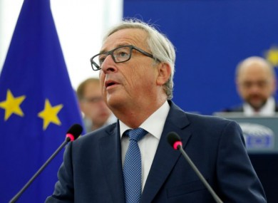 EU Commission President Jean-Claude Juncker delivers his State of the Union address at the European Parliament in Strasbourg today.