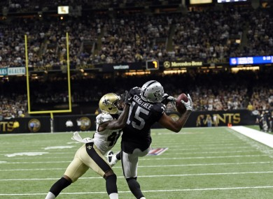 Michael Crabtree makes the game-winning catch.