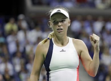Caroline Wozniacki, of Denmark, celebrates a point against Anastasija Sevastova, of Latvia.