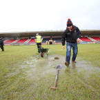 A general view of the pitch after the Tyrone county final replay is postponed.<span class=