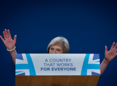 Prime Minister Theresa May gives her keynote address at the Conservative party conference.