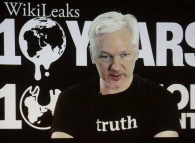 WikiLeaks founder Julian Assange participates in the conference via video link.
