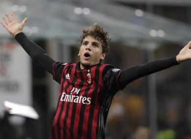 AC Milan's Manuel Locatelli celebrates after scoring.