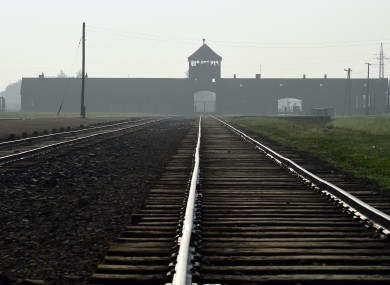 the entrance to the former Nazi German death camp of Birkenau.