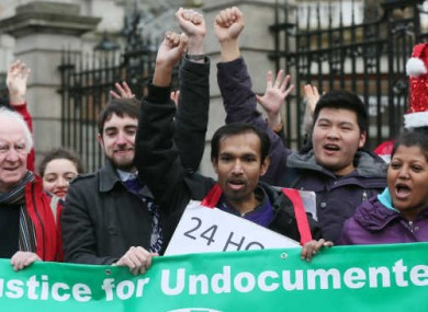 File Photo: Undocumented migrants holding vigil at Leinster House.