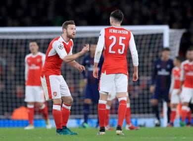 Arsenal's Shkodran Mustafi (left) talks to Carl Jenkinson.