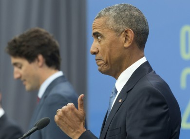 Current US President Barack Obama and Canadian Prime Minister Justin Trudeau.