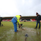 The heavens opened and left Healy Park in Omagh unplayable.<span class=