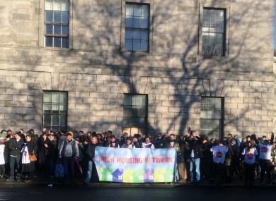Apollo House supporters outside the Four Courts this morning