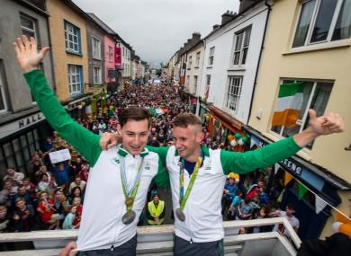 Gary and Paul O'Donovan celebrating at their homecoming in Skibbereen.