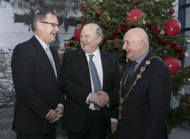 Michael Noonan with Con Murray, CEO of Limerick City and County Councils (left) and Mayor of Limerick Cllr Kieran O'Hanlon.