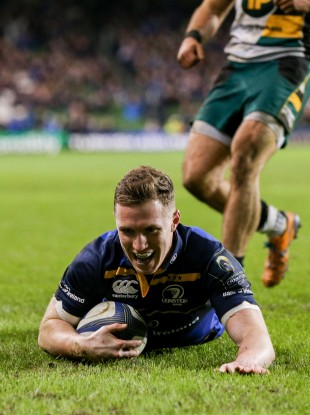 Rory O'Loughlin slides in Leinster's eighth of the night.