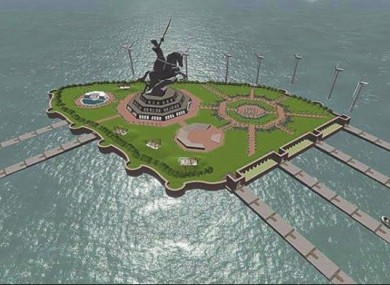 A graphic representation of the huge statue planned by the Indian government, celebrating a Hindu warrior who fought the Muslim Mughal dynasty.