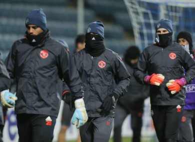 United's players trained at the stadium this evening.