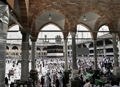 Muslim pilgrims arrive to circle the Kaaba, Islam's holiest shrine, at the Grand Mosque in the Muslim holy city of Mecca.