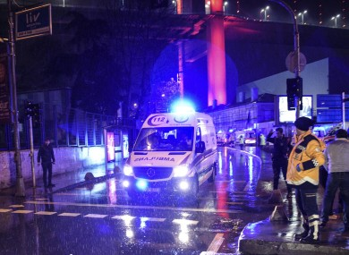 Ambulances rushing away from the scene of the attack.