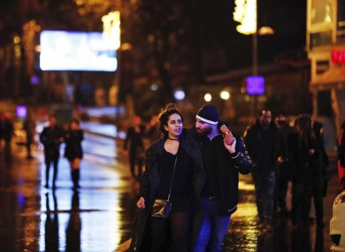 Young people leaving the scene of the attack early on New Year's Day.
