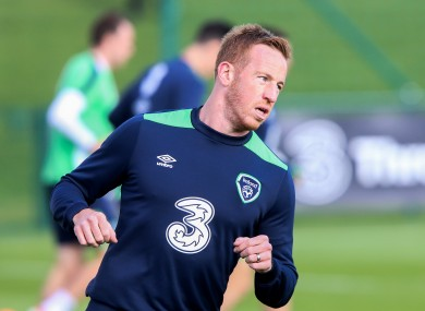 Adam Rooney training with the Ireland squad in Abbotstown last October.