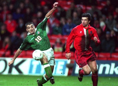 Jon Goodman alongside the late Gary Speed on his Ireland debut against Wales.