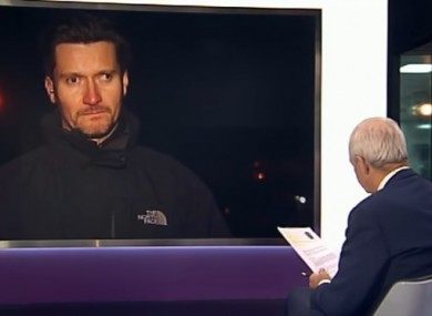 Mark Kennedy being             interviewed on Channel 4 News in 2012.