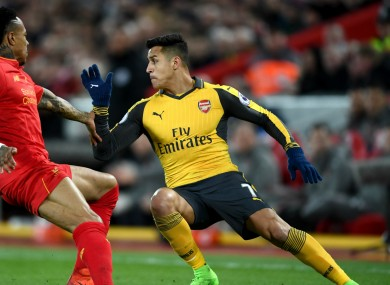 Arsenal attacker Alexis Sanchez in action against Liverpool.
