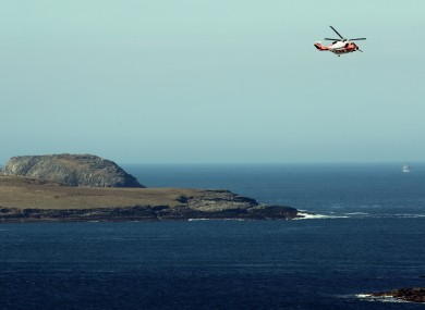 A Coast Guard helicopter over Blacksod.