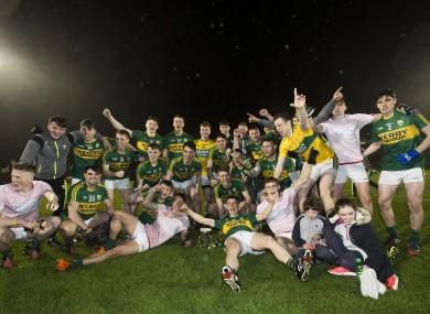 Kerry players celebrate their victory in Páirc Uí Rinn.