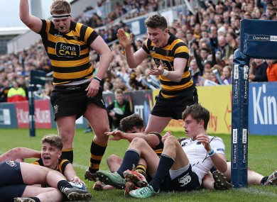 RBAI celebrate a try in the Danske Bank Schools Cup Final.