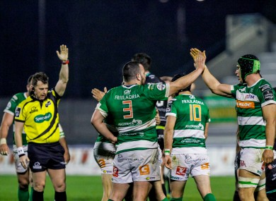 Treviso celebrate after Alberto Sgarbi's try.